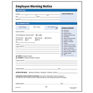 Socrates Employee Warning Notice Form - SOMHR114 - Shoplet.com