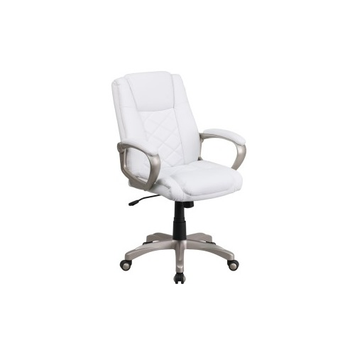 Flash furniture white leather office chair for Desk chair white leather