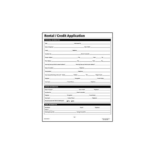Socrates Rental/Credit Application Real Estate Forms - SOMLF305 ...