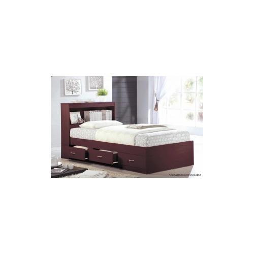 hodedah import single bed with 3 drawers hoahibt70m. Black Bedroom Furniture Sets. Home Design Ideas